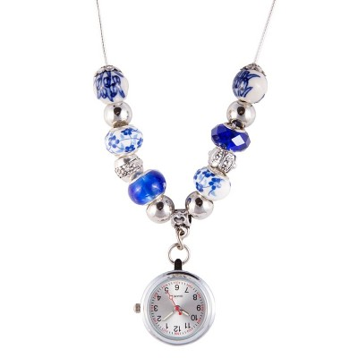 Ketting Horloge Parel Antiek Blauw